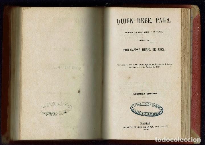 Libros antiguos: 3 OBRAS DE T.RODRÍGUEZ RUBÍ/QUIEN DEBE,PAGA,DE G.NÚÑEZ DE ARCE.BIBLIO.J.BENEJAM VIVES.1846-1868(9.6) - Foto 10 - 135476746