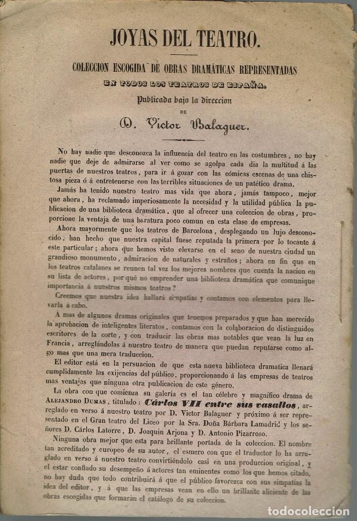 Libros antiguos: CARLOS VII ENTRE SUS VASALLOS, POR ALEJANDRO DUMAS. AÑO 1847. (9/7) - Foto 3 - 136286370