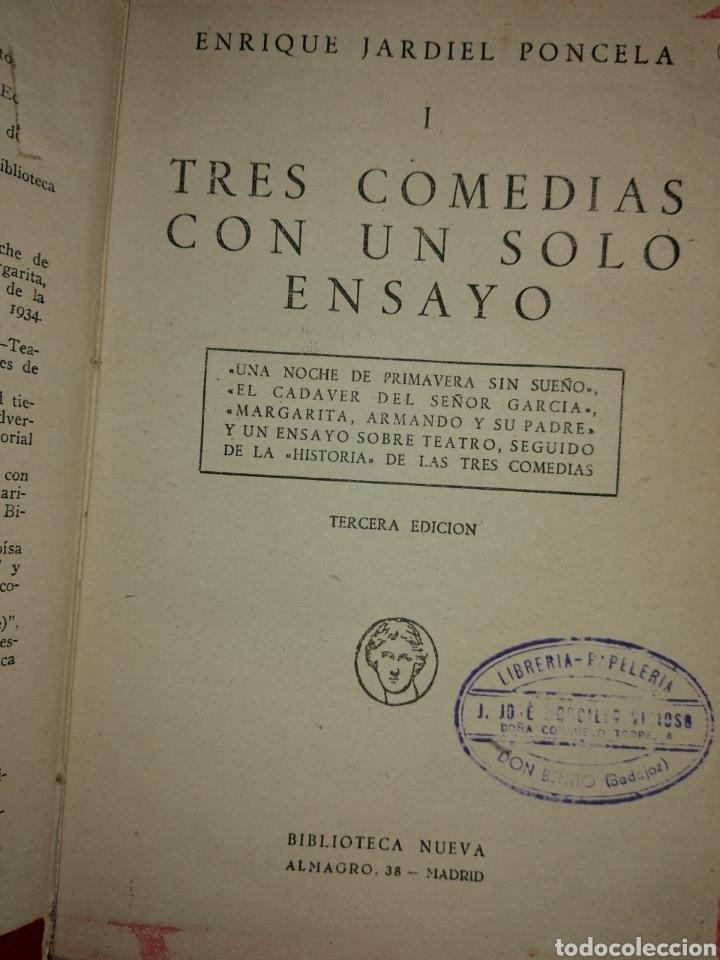 Libros antiguos: 3 COMEDIAS CON UN SOLO ENSAYO DE ENRIQUE JARDIEL PONCELA 1934 - Foto 2 - 144549774