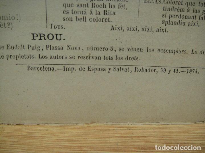 Libros antiguos: quadros de costums catalanas - lo sagristá de sant roch - serafi pitarra - año 1874 - Foto 2 - 146631510