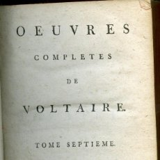 Libros antiguos: VOLTAIRE, OEUVRES COMPLETES, THEATRE, TOME 7, 1785. Lote 152893186