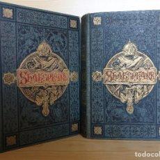Libros antiguos: SHAKESPEARE: DRAMAS (2 VOLS.) - GRABADOS, ENCUADERNACIÓN MODERNISTA - 1881-1883 - PRECIOSOS. Lote 155172982