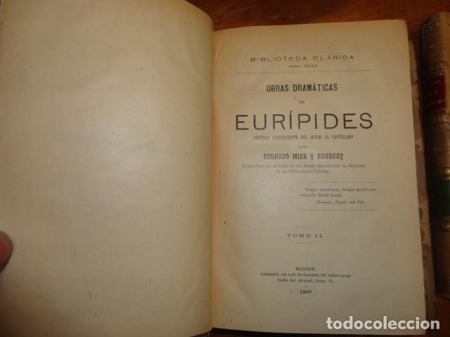 Libros antiguos: Obras dramáticas de Eurípides- MADRID 1909-TRES TOMOS. - Foto 3 - 155262086