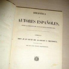 Libros antiguos: COMEDIAS DE DON JUAN RUIZ DE ALARCÓN Y MENDOZA. 1852. BIBLIOTECA DE AUTORES ESPAÑOLES. Lote 165668170