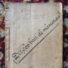 Libros antiguos: ¡ DITXOS BALL DE MASCARAS!- FRANCISCO FIGUERAS Y RIBOT, 1895 BARCELONA. DEDICAT I FIRMAT PER L'AUTOR. Lote 167853528