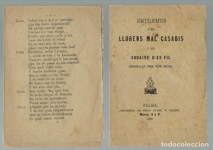 ENTREMESES D'EN LLORENS MAL CASADÍS Y NA SUSAINE D'ES FIL ARREGLAT PER NOU ESTIL. 1883 (MENORCA.2.4) (Libros antiguos (hasta 1936), raros y curiosos - Literatura - Teatro)