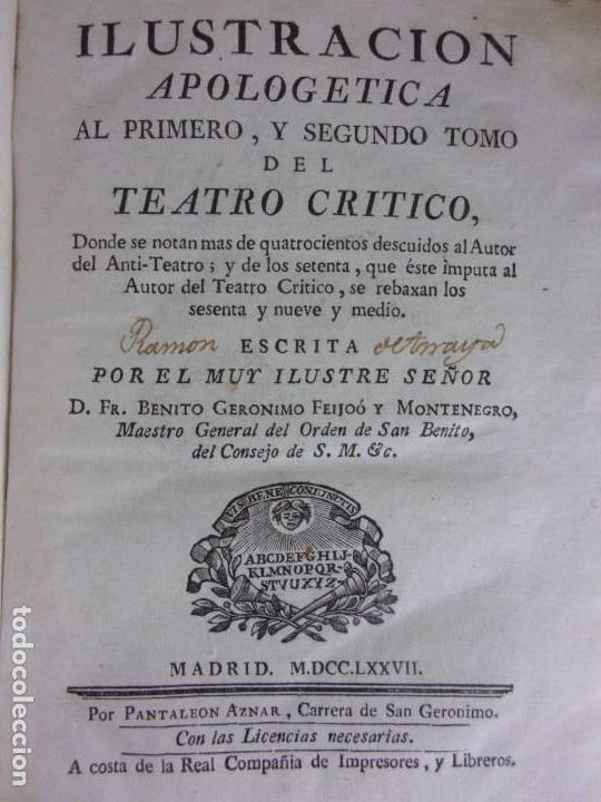 Libros antiguos: TEATRO CRITICO / GERONIMO FEIJOO / 1777-1783-1778-1774 / 7 TOMOS - Foto 5 - 168825748