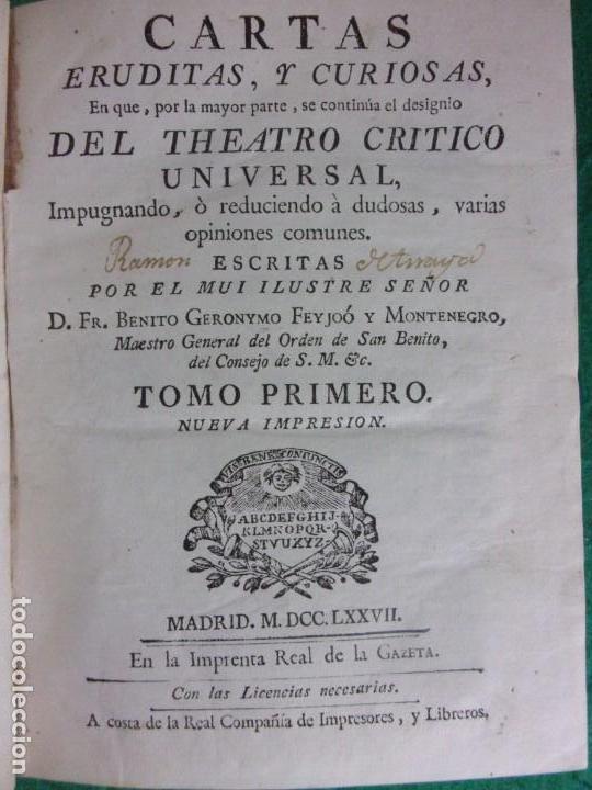 Libros antiguos: TEATRO CRITICO / GERONIMO FEIJOO / 1777-1783-1778-1774 / 7 TOMOS - Foto 17 - 168825748