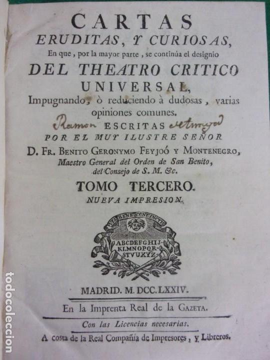 Libros antiguos: TEATRO CRITICO / GERONIMO FEIJOO / 1777-1783-1778-1774 / 7 TOMOS - Foto 26 - 168825748