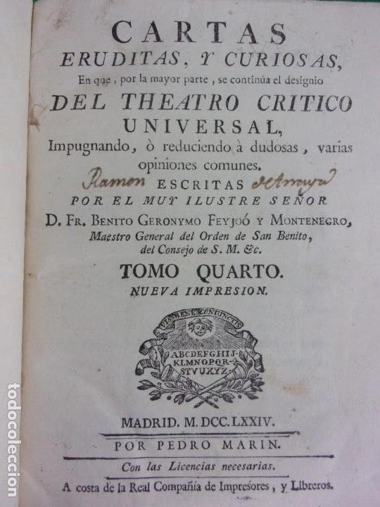 Libros antiguos: TEATRO CRITICO / GERONIMO FEIJOO / 1777-1783-1778-1774 / 7 TOMOS - Foto 30 - 168825748