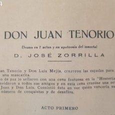 Libros antiguos: PLIEGO DEL LIBRO DON JUAN TENORIO D. JOSÉ ZORRILLA 16 PÁGINAS.. Lote 170421166