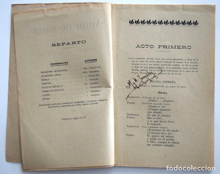 Libros antiguos: AMOR DE AMAR - JACINTO BENAVENTE - COMEDIA LÍRICA - SOCIEDAD DE AUTORES ESPAÑOLES MADRID 1913 - Foto 4 - 170427572