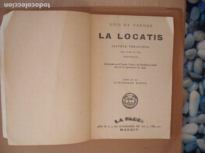 Libros antiguos: LA FARSA- LA LOCATIS, LUIS DE VARGAS.Nº 270- AÑO 1932 - Foto 2 - 173108147