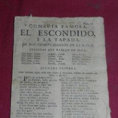 Libros antiguos: (M3.6) D. PEDRO CALDERON DE LA BARCA - COMEDIA FAMOSA EL ESCONDIDO Y LA TAPADA S.XVIII. Lote 181400613
