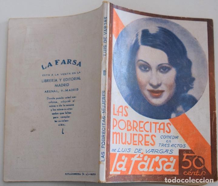 Libros antiguos: LA FARSA - Nº 205 - LAS POBRECITAS MUJERES - POR LUIS DE VARGAS - Foto 2 - 182375903