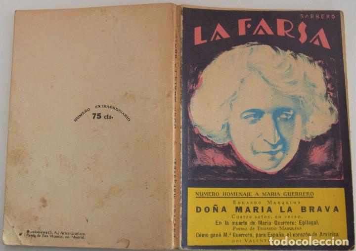 Libros antiguos: LA FARSA Nº 23 - DOÑA MARIA LA BRAVA - POR EDUARDO MARQUINA - NUMERO HOMENAJE A MARIA GUERRERO - Foto 2 - 182853177
