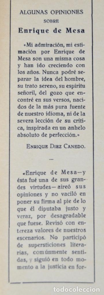Libros antiguos: Enrique de Mesa. Obras Completas. Apostillas a la Escena. Renacimiento. 1º Edición. Madrid, 1929 - Foto 2 - 185253081