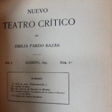 Libri antichi: NUEVO TEATRO CRITICO DE EMILIA PARDO BAZAN. Nº 8. 1891. Lote 190399716