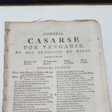 Libros antiguos: TEATRO SIGLO XVIII: CASARSE POR VENGARSE. COMEDIA. MADRID, LIBRERÍA DE QUIROGA, 1793, 16X22, 32 PÁGS. Lote 191890632