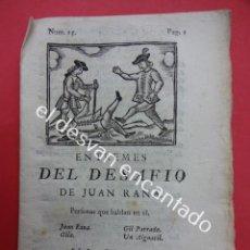 Libros antiguos: ENTREMESES DEL DESAFIO DE JUAN RANA. TEATRO S.XVIII. MATHEO IMPRESOR. BARCELONA 1779. Lote 192558377