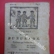Libros antiguos: ENTREMES DE LOS BUÑUELOS TEATRO S.XVIII. MATHEO IMPRESOR. BARCELONA 1779. Lote 192559080