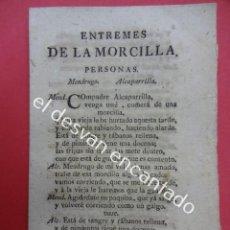 Libros antiguos: ENTREMESES DE LA MORCILLA. TEATRO S.XVIII. MATHEO IMPRESOR. BARCELONA 1792. Lote 192559166