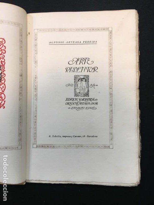 Libros antiguos: Alfonso Arteaga Pereira. Arte Redentor. Dedicatoria Autógrafa. Dirigida y Ornamentada por.., 1912. - Foto 3 - 194062503