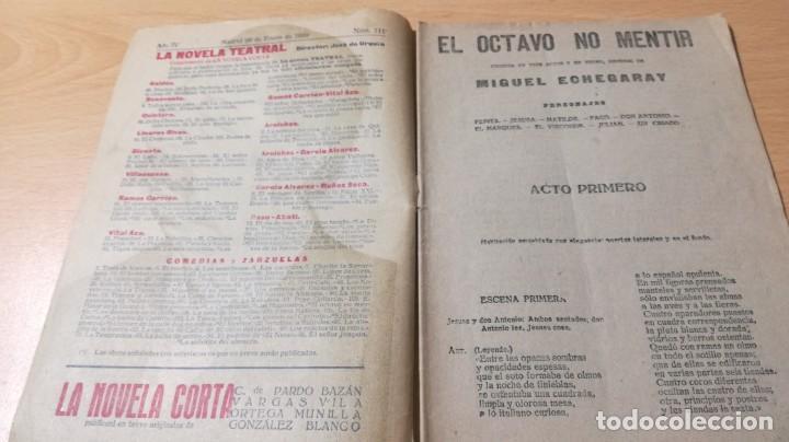 Libros antiguos: EL OCTAVO NO MENTIR - MIGUEL ECHEGARAY - LA NOVELA TEATRAL 1919M302 - Foto 5 - 194912217