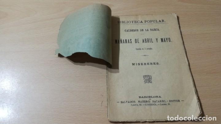 Libros antiguos: MAÑANAS DE ABRIL Y MAYO - MISERERES -CALDERON DE LA BARCA M401 - Foto 3 - 194915558