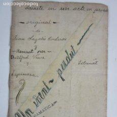 Libros antiguos: OBRA DE TEATRO - UN INVENT PERDUT - J. SAGALÉS - JUVENTUD BIBLIOTECA GRANOLLERS - AÑO 1906. Lote 203799233