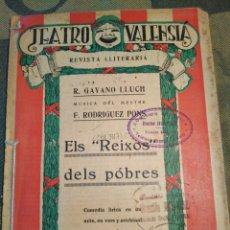 Livres anciens: TEATRE VALENSIA-N°69,CHINER 1927,ELS REIXOS DELS POBRES,GAYANO LLUCH,RODRÍGUEZ PONS,. Lote 205437298