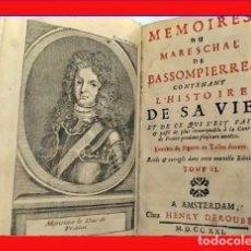 Livres anciens: AÑO 1721: MEMORIAS DEL MARISAL DE BASSOMPIERRE.. Lote 205443037