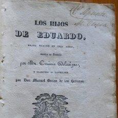 Libros antiguos: LOS HIJOS DE EDUARDO, BRETÓN DE HERREROS (TRAD.). MADRID, 1835. Lote 208318238