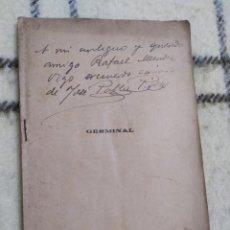 Libros antiguos: 1910. GERMINAL. TEATRO. JOSÉ PABLO RIVAS. DEDICADO POR SU AUTOR.. Lote 208590778