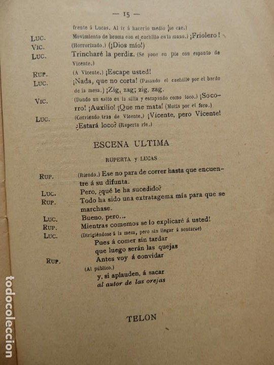 Libros antiguos: PR-2132.LAS OREJAS. ENTREMÉS CÓMICO.JOSÉ QUILIS PASTOR. SDAD. DE AUTORES ESPAÑOLES. MADRID. AÑO 1909 - Foto 6 - 213750755