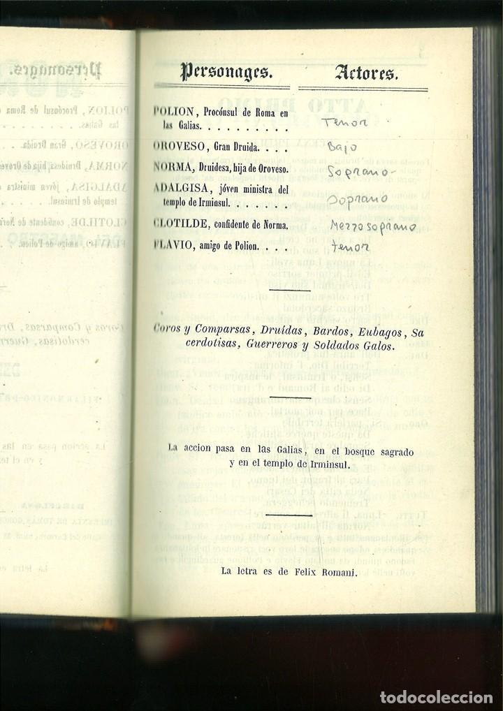 Libros antiguos: LA SOMNÁMBULA. MELODRAMA EN DOS ACTOS. Música del Maestro Vicente Bellini. - Foto 7 - 214004960