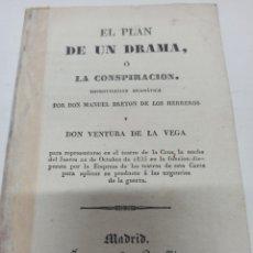 Libros antiguos: (CARLISMO) TEATRO BRETON DE LOS HERREROS: EL PLAN DE UN DRAMA O LA CONSPIRACION. MADRID,1835. Lote 222365477