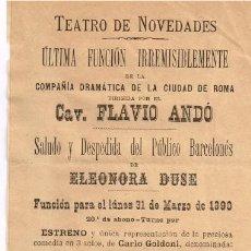 "Libri antichi: 1890 FOLLETO TEATRO DE NOVEDADES DE BARCELONA ""LA LOCANDIERA"" CON ELEONORA DUSE. Lote 225125595"