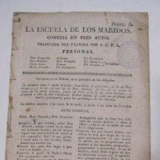 Libros antiguos: MOLIÈRE. LA ESCUELA DE LOS MARIDOS COMEDIA EN TRES ACTOS. VALENCIA, 1822. Lote 228533405