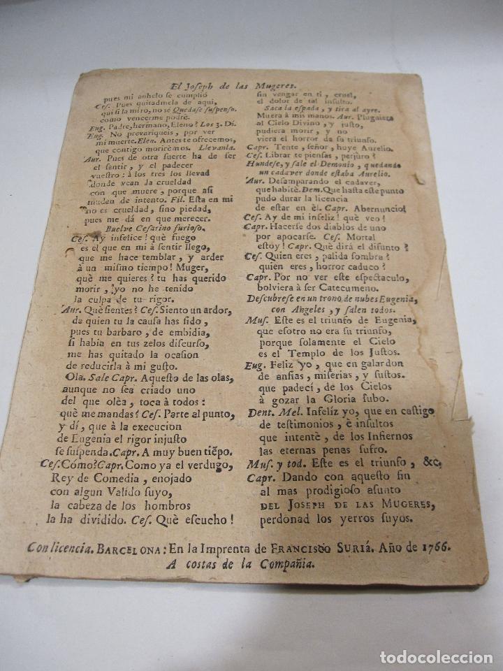 Libros antiguos: COMEDIA FAMOSA. EL JOSEPH DE LAS MUGERES. DE DON PEDRO CALDERÓN DE LA BARCA. BARCELONA, 1766 - Foto 6 - 228535700