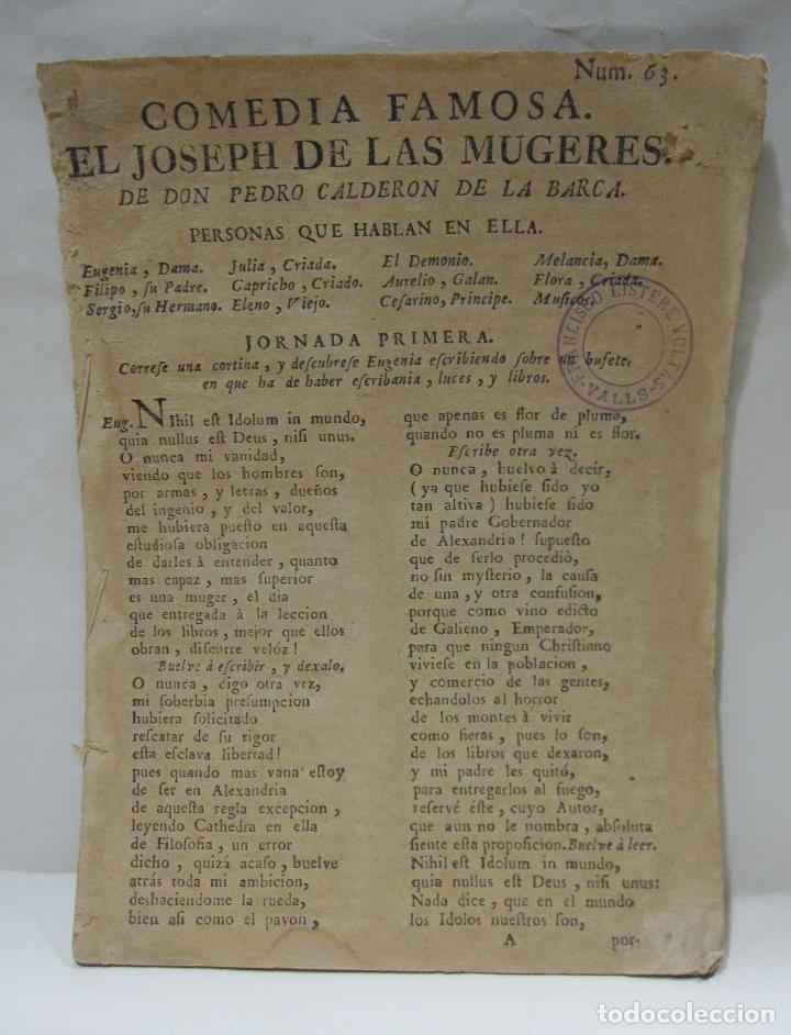 COMEDIA FAMOSA. EL JOSEPH DE LAS MUGERES. DE DON PEDRO CALDERÓN DE LA BARCA. BARCELONA, 1766 (Libros antiguos (hasta 1936), raros y curiosos - Literatura - Teatro)