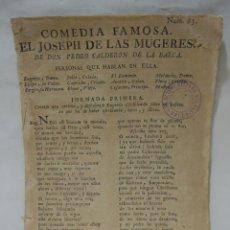 Libros antiguos: COMEDIA FAMOSA. EL JOSEPH DE LAS MUGERES. DE DON PEDRO CALDERÓN DE LA BARCA. BARCELONA, 1766. Lote 228535700