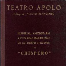 Libros antiguos: TEATRO APOLO. HISTORIAL, ANECDOTARIO Y ESTAMPAS MADRILEÑAS DE SU TIEMPO (1873-1929), CHISPERO. Lote 230090630