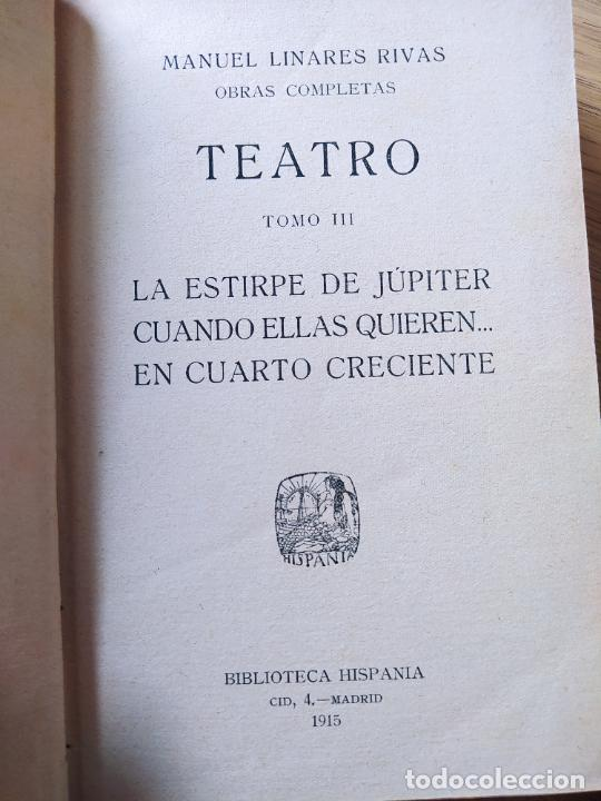 Libros antiguos: Obras Completas, Manuel Linares, Teeatro, Biblioteca Hispana, 1915. En piel. - Foto 3 - 233825155