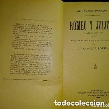 Libros antiguos: 1913 Romeo y Julieta: tragedia en cinco actos / W. Shakespeare; traducción por J. Roviralta Borrell. - Foto 4 - 236005065