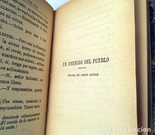 Libros antiguos: Ibsen : La dama del mar / Un enemigo del pueblo. (1ª ed., 1894) 2 obras. Holandesa época - Foto 3 - 243593905