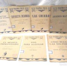 Libros antiguos: TEATRO FACIL DE LUIS MILLA LOTE DE 7 OBRAS. Lote 244646425