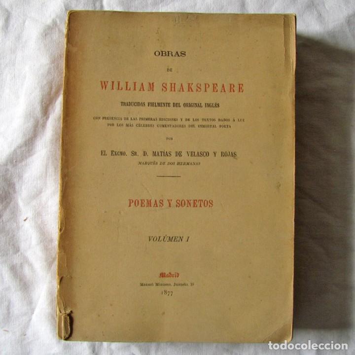 POEMAS Y SONETOS WILLIAM SHAKSPEARE 1877, TRAD. MATIAS DE VELASCO Y ROJAS (Libros antiguos (hasta 1936), raros y curiosos - Literatura - Teatro)