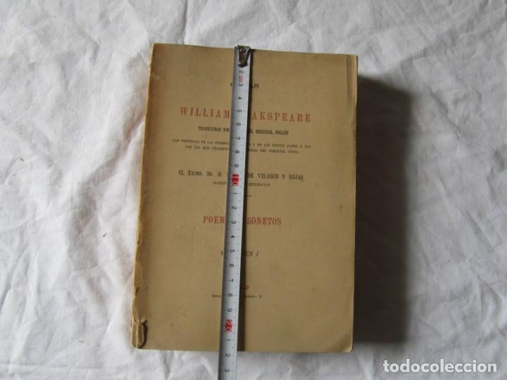 Libros antiguos: Poemas y sonetos William Shakspeare 1877, Trad. Matias de Velasco y Rojas - Foto 2 - 244836635