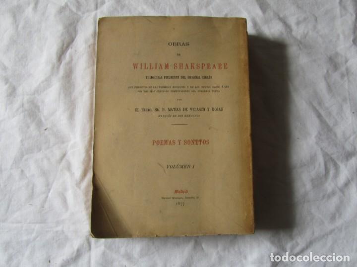 Libros antiguos: Poemas y sonetos William Shakspeare 1877, Trad. Matias de Velasco y Rojas - Foto 4 - 244836635